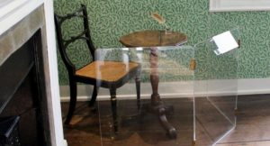 Jane Austen's writing table, dining room, Jane Austen's House, Chawton, Hampshire. Copyright Gretta Schifano