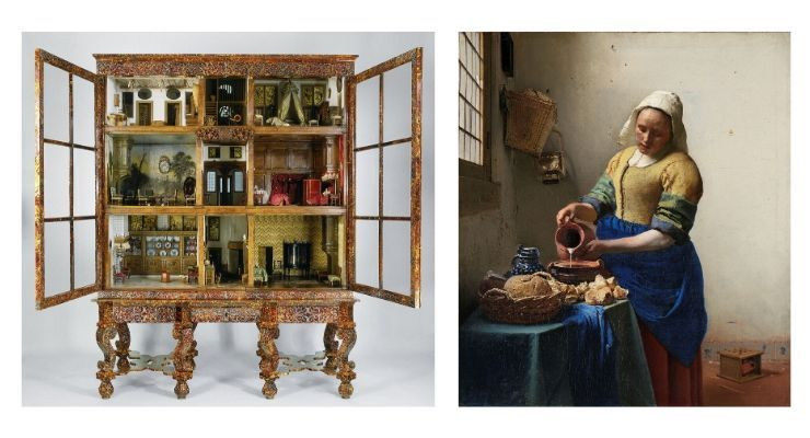 Dolls' house of Petronella Oortman and The Milkmaid by Vermeer. Images courtesy of Rijksmuseum. Virtual online Amsterdam tour guide.