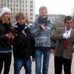 Italian teens & Mr Bean performer, London Southbank. Copyright Gretta Schifano