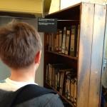 Movable bookcase hiding secret staircase, Anne Frank Museum. Copyright Gretta Schifano