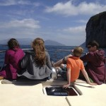 Kids on the boat to Capri. Copyright Gretta Schifano
