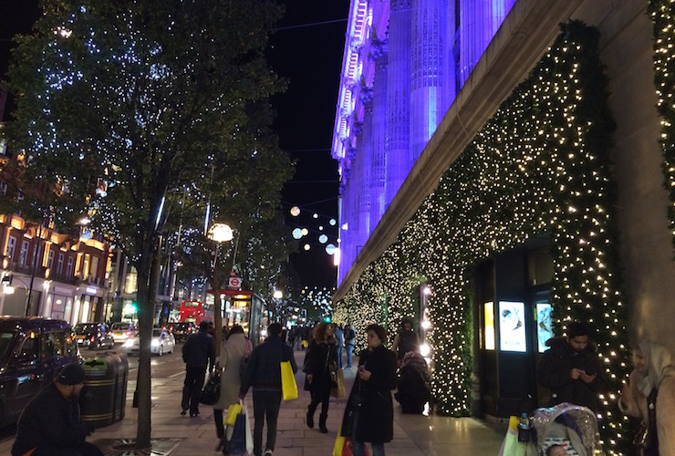 Christmas lights on Oxford Street. Copyright Gretta Schifano