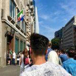 Queueing at the Italian Consulate, London. Copyright Gretta Schifano