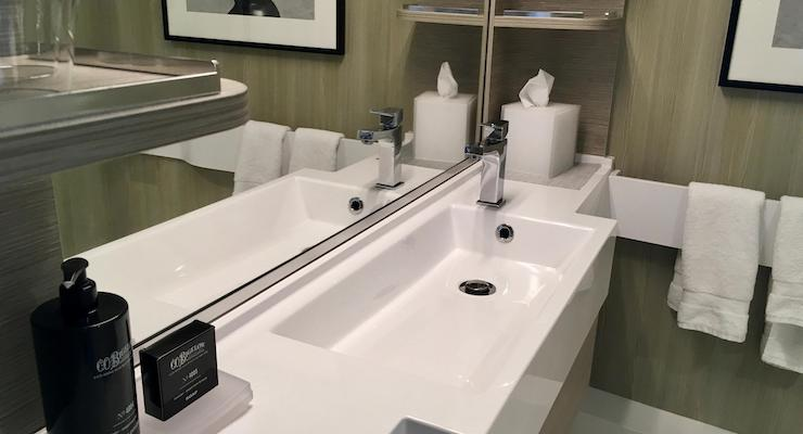 Aquaclass stateroom bathroom, Celebrity Edge. Copyright Gretta Schifano