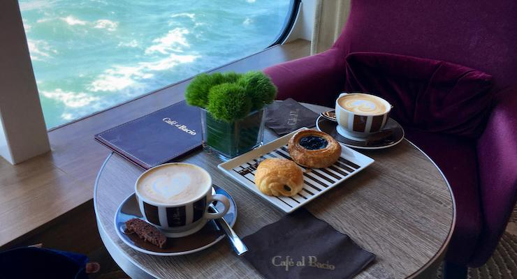 Coffee at Café al Bacio, Celebrity Edge. Copyright Gretta Schifano