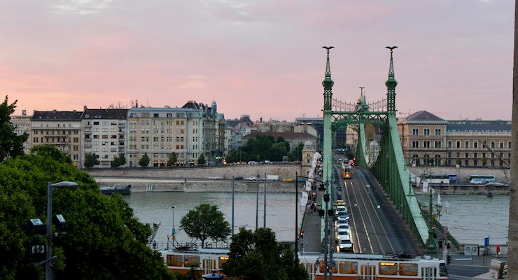 Dawn, Liberty Bridge, Budapest. Copyright Gretta Schifano